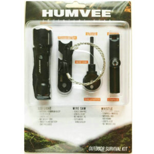 Humvee Outdoor Survival Kit with compass, whistle, torch, fire starter and wire saw.