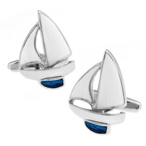 Lovely Blue and White enamel finish Yacht Cufflinks - A great gift Idea for Yachtsmen and Sailors!