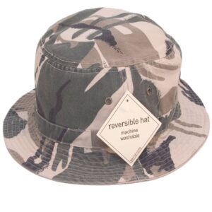 Popular Reversible Camouflage Bush Hat - Camouflage Green one side or reverse it for Plain Beige the other side! 100% cotton.