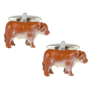 Themed Farming and Country gift idea: Quality Bull themed Rhodium plated cufflinks by Dalaco