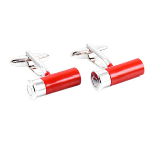 Top quality rhodium plated cufflinks. Shotgun Cartridge in a choice of three colours!