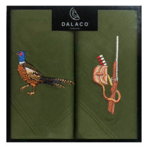 Shotgun and pheasant embroidered handkerchiefs - make a lovely country sports themed gift