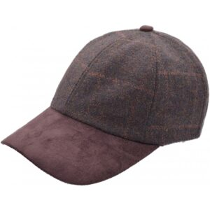 Top quality brown wool and faux suede baseball cap, adjustable - one size