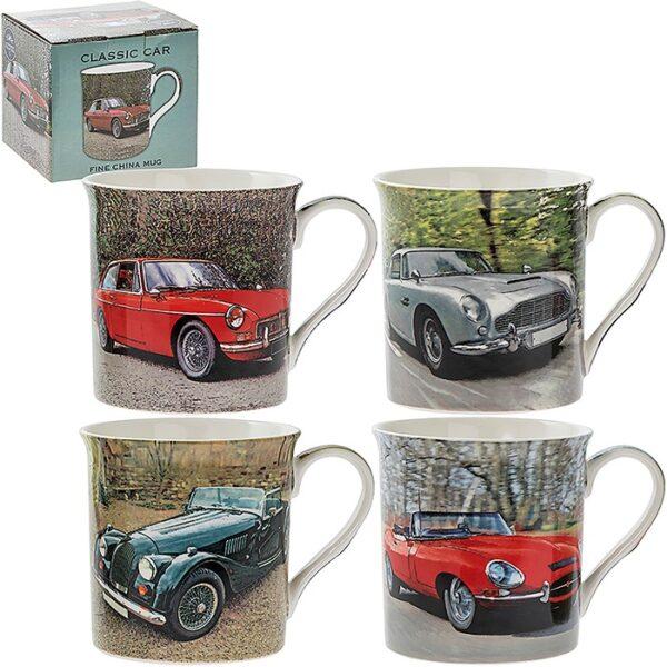 Classic Car Brands Mugs. E-Type, Aston Martin, Morgan and MGB GT