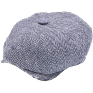 Lovely quality Baker Boy or Newsboy 8 panel cap. in a Stylish Navy herringbone pattern.