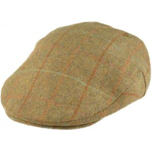 Lovely Quality 100% Wool Tweed Flat Cap in Country Green Overcheck