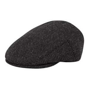 Stylish, Traditional wool mix flat cap in Grey Herringbone weave