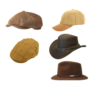 A selection of top quality caps and hats including tweeds, leather and furfelts by Stetson