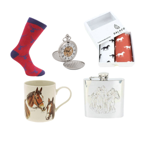 Top quality racing, country and farming themed gifts from agent 74 including flasks, pocket watches, hankies, socks and themed mugs!