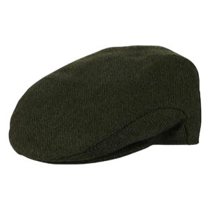 Traditional herringbone weave dark green wool mix flat cap - Stylish and Warm!