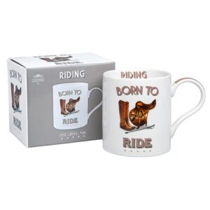 Fun Gift for Horse Riders - The Cheeky Sport Riding Mug - Born To Ride! Fine China.
