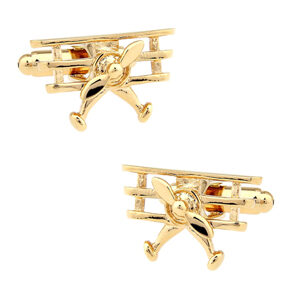 Quality Aviation Themed Cufflinks - Gold Triplane make a great gift for plane enthusiasts!