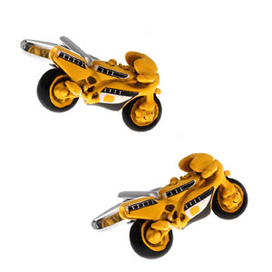 These Yellow Motorbike Cufflinks make the ideal gift for bike racing fans. Yellow Superbikes