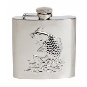 Great gift for Fishermen and Anglers: Polished Stainless Steel 6oz Hip Flask with Captive Top.